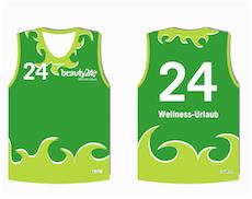 Frisch gestaltete Trikots von beauty24 für das Beachvolleyball Turnier in Berlin. Quelle: beauty24 GmbH