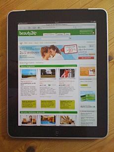 Glaskare Darstellung auf dem iPad: Die Website von beauty24.de, Quelle: beauty24.de