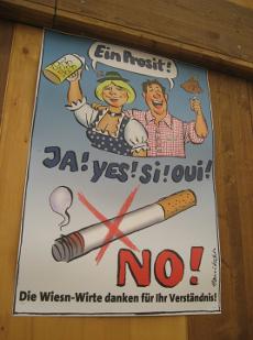 In diesem Jahr war das Rauchen in allen Festzelten auf dem Oktoberfest erstmals verboten.