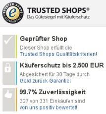 Mehr als 1000 Bewertungen bei Trusted Shops