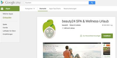 NEU! beauty24 Wellness App ab sofort im Google Play Store verfügbar. Quelle: © beauty24 GmbH