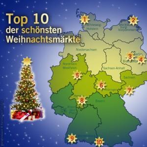 Unsere Top 10 der schönsten Weihnachtsmärkte Deutschlands von Nord nach Süd. Quelle: beauty24 GmbH