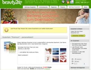Unser Wellness-Gutschein ist das perfekte Last Mintue Geschenk. Einfach online bestellen, von zuhause downloaden und ausdrucken - fertig. Quelle: beauty24 GmbH