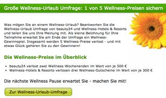 Wellness-Urlaub Umfrage beantworten und 1 von 5 Wellness Preisen sichern. Quelle: beauty24 GmbH